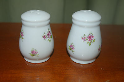 Floral Salt and Pepper Set - White with Purple Roses Flowers