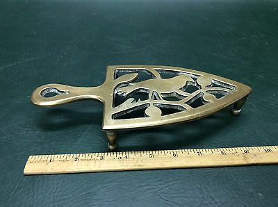 Rare Antique Victorian Solid Brass Table Trivet Iron Fireside Ornate Bird