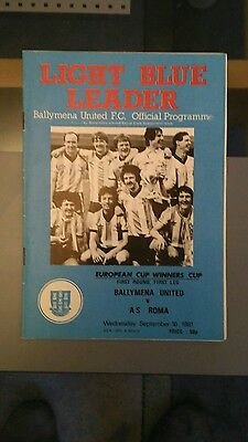 Ballymena v Roma - 1981/2 European Cup Winners Cup Programme