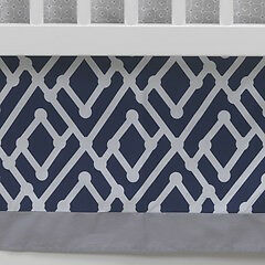 Lambs & Ivy Jensen Collection Navy Triangle Crib Dust Ruffle