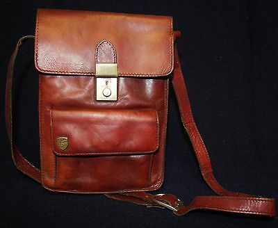 VINTAGE GENUINE PORSCHE 1960s RED BROWN LEATHER HAND SHOULDER BAG