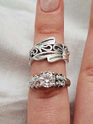 Lot of Vintage Sterling Silver Rings, Filigree Band, Clear Stone, Estate Jewelry