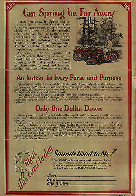 heavy card stock Indian antique postcard. motorcycle advertising