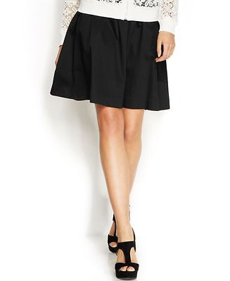 INC $79 NEW Womens Deep Black Solid 5786 Pleated Flare A Line Skirt Regular 10