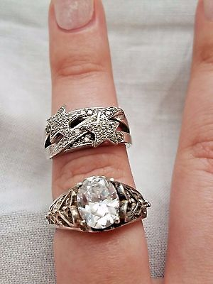 Lot of Vintage Sterling Silver Rings, Solitaire, Clear Stones, Estate Jewelry