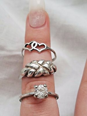 Lot of Vintage Sterling Silver Rings, Scrap/Repair Jewelry, Solitaire, Bands