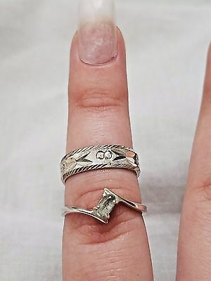 Lot of Vintage Sterling Silver Rings, Textured Engraved, Stone, Estate Jewelry