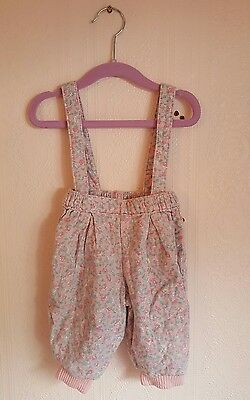 Vintage baby floral pastel retro dungarees 3-6 months