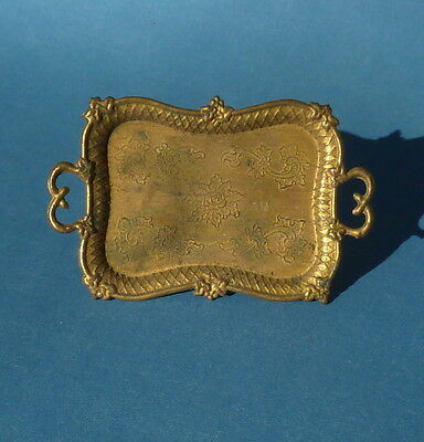 Vintage dolls house gilt metal tray.