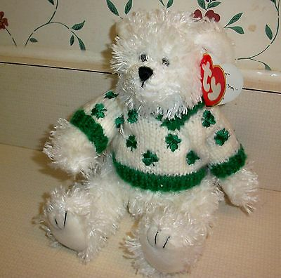 "Ty Attic Treasure  White Bear ""Flannigan"" with Tags"