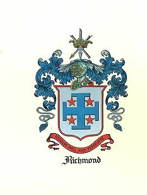 *Great Coat of Arms Richmond Family Crest genealogy, would look great framed!