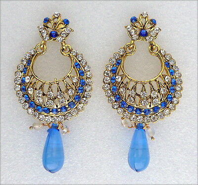 Ethnic Bollywood Blue Gold Plated Wedding Bridal Party Jewellery Earrings