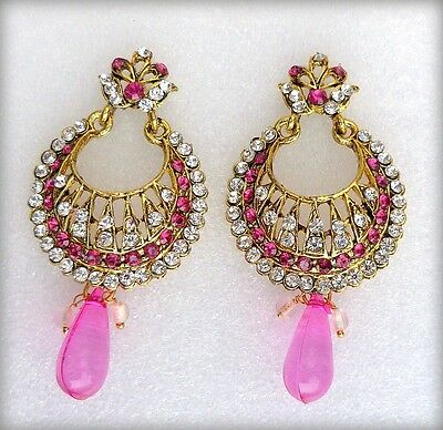 Ethnic Indian Bollywood Pink Gold Plated Wedding Bridal Party Jewellery Earrings