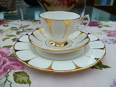Lovely Royal Vale English China Trio Tea Cup Saucer Large Side Plate Gilded