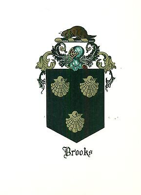 *Great Coat of Arms Brooks (#1) Family Crest genealogy, would look great framed!