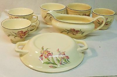 Old Universal Cambridge Iris Pattern lot of 8 pieces Gravy Cups Saucer Bowls Lid