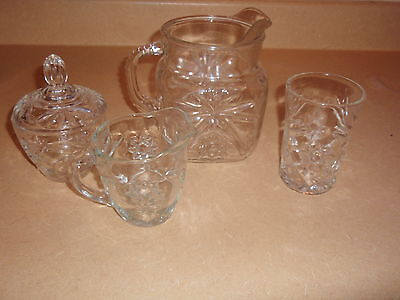 Eapc Early American Prescut  Sugar Creamer Tumbler Square Pitcher  40 Onz