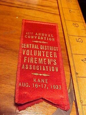 Rare 1933 Kane  Firemens Guest Ribbon 41St Annual Convention