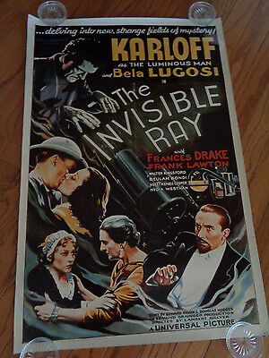 THE INVISIBLE RAY REPRO MOVIE POSTER 27x40 Karloff Lugosi F J ACKERMAN MONSTERS