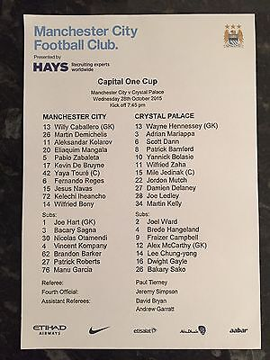 Man City V Crystal Palace 28.10.2015 Capital One Cup ** Official Teamsheet **