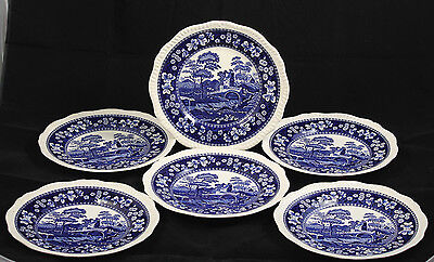 Vntg Spode Dinner Plates Blue Tower Collectible Bone China Pottery Set of 6