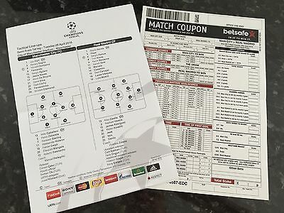 Manchester City V Real Madrid 26.04.2016 Official Teamsheet Champions League