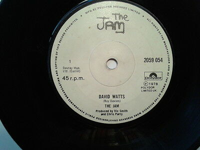 """7"""" Vinyl. The Jam, David Watts.  Rare White Paper Label With Solid Centre"""