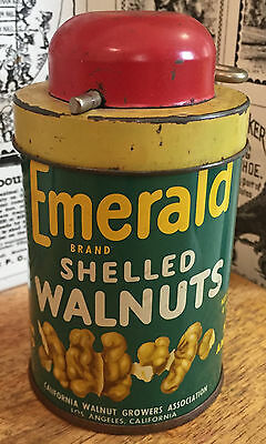 Vintage Emerald Shelled Walnuts Tin Can - Grinder Nut Chopper - Advertising