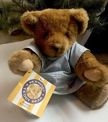 Vermont Teddy Bear with Hospital Gown -blue/white with Tags 1997  Plush Jointed