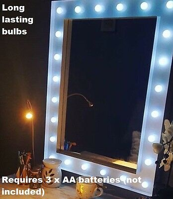 New Design Hollywood 24 LED Bulb Mirror Needs 3 x AA batteries (not included).