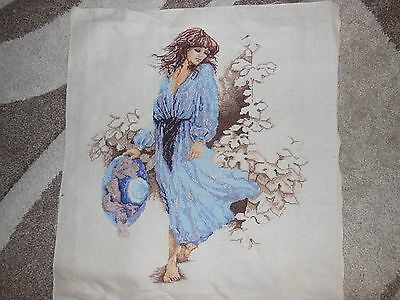 Finisihed Cross Stitch - Lady in Soft Blues