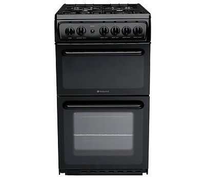BRAND NEW Hotpoint HAGL51K 50cm Twin Cavity Gas Cooker with Grill & Hob with Lid