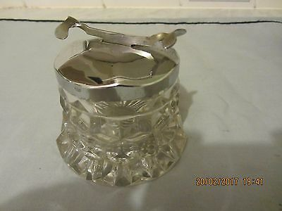 Art Deco Sos Pascalls Cut Glass Sugar Bowl With Silver Plate Nip Tongs