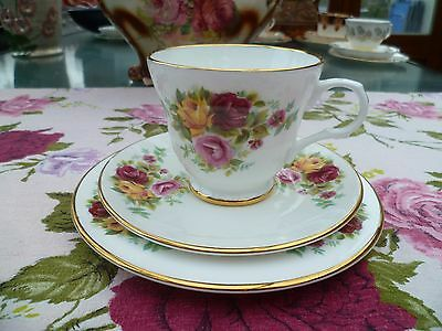 Pretty Kingsley English China Trio Tea Cup Saucer Plate Roses