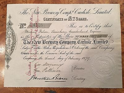 Brewery Company Share Certificate