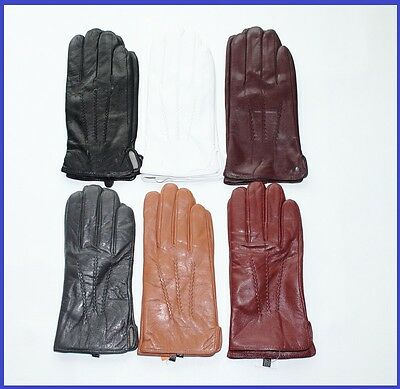 Men Colored Genuine Leather Gloves
