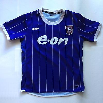 Mitre IPSWICH Town Blue White Strip Shirt Jersey S Small Football Club Soccer