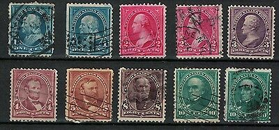 us old stamps 1890s presidents with triangle issue part set with watermark