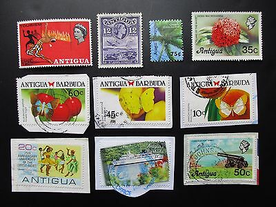 ANTIGUA BARBUDA used Postage Stamps franked on and off paper