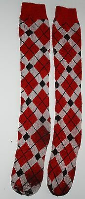 Vintage Argyle Knee Socks Red white & black