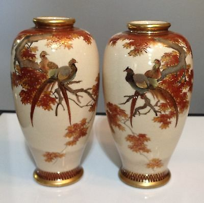 Antique Pair of Satsuma Peacock Hand Painted Vases Marked Hozan