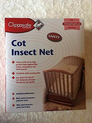 Brand New Clippasafe Cot Insect Net Size 135x67x67cm Approx