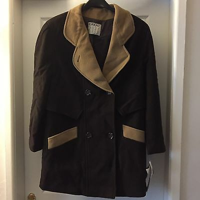 Ladies 100% Wool Coat Chocolate Brown With Beige Trim Size 10 Brand New With Tag