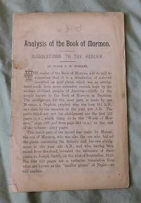 ANALYSIS OF THE BOOK OF MORMON by Elder B. H. Roberts LDS Vintage pamphlet
