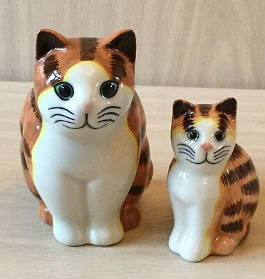Pair Of Quail Cats Large And Small