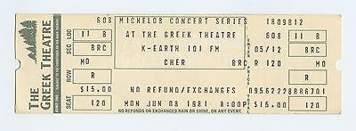 Cher Ticket 1981 Jun 8 The Greek Theatre Unused