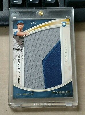 Corey Seager 2016 Immaculate Rc Jumbo Jersey Number Patch # 2/6  Dodgers