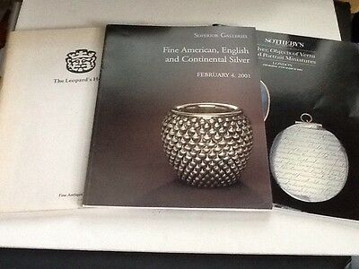 3 x Antique American English Continental Silver Auction Catalogs 1983-2001
