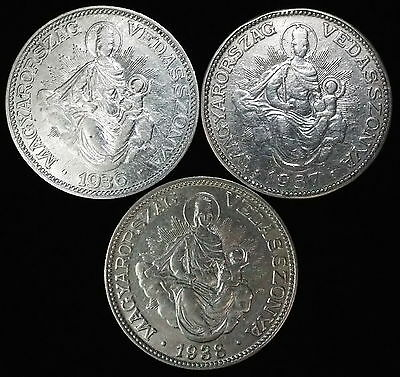 Hungary Lot- 1936 1937 & 1938 2 Pengo KM# 511 Silver Hungarian Coins 3 pieces
