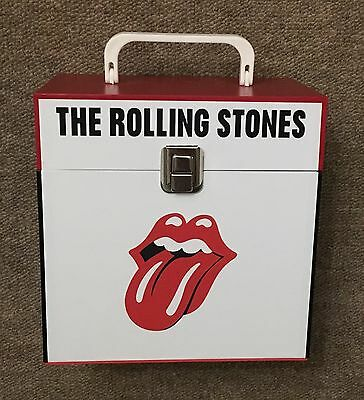 """The Rolling Stones - wooden 7"""" Record Box/Case 45's holds 30-50 singles Test"""